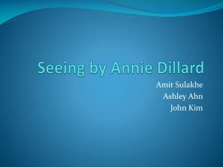 Seeing by Annie Dillard