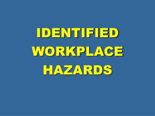 IDENTIFIED WORKPLACE HAZARDS