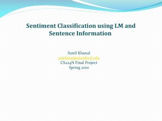 Sentiment Classification using LM and Sentence Information