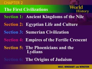 Section 1: Ancient Kingdoms of the Nile Section 2: Egyptian Life and Culture Section 3: Sumerian Civilization Section 4: