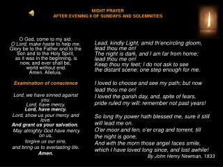 NIGHT PRAYER  AFTER EVENING II OF SUNDAYS AND SOLEMNITIES