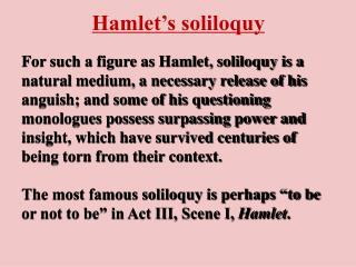 Hamlet s soliloquy