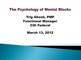 The Psychology of Mental Blocks