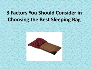 3 Factors You Should Consider in Choosing the Best Sleeping