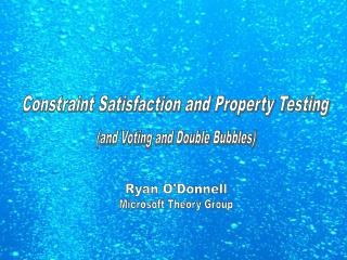 Constraint Satisfaction and Property Testing