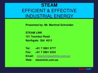 STEAM EFFICIENT  EFFECTIVE INDUSTRIAL ENERGY