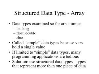 Structured Data Type - Array
