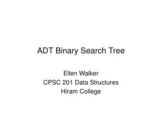 ADT Binary Search Tree