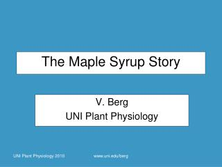 The Maple Syrup Story