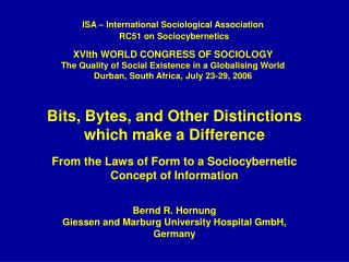Bits, Bytes, and Other Distinctions which make a Difference  From the Laws of Form to a Sociocybernetic Concept of Infor