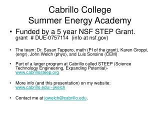 Cabrillo College  Summer Energy Academy