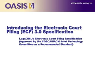 Introducing the Electronic Court Filing ECF 3.0 Specification