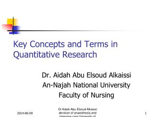 Dr Aidah Abu Elsoud Alkaissi devision of anaesthesia and intensive care University of Linkoping Sweden