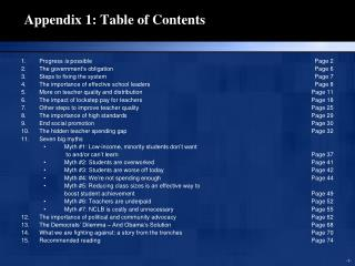 Appendix 1: Table of Contents
