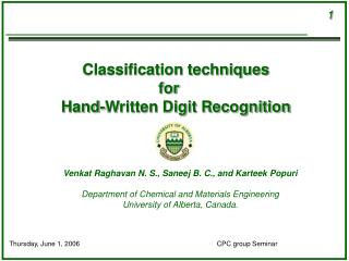 Classification techniques  for   Hand-Written Digit Recognition