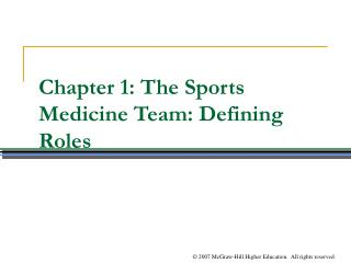 Chapter 1: The Sports Medicine Team: Defining Roles