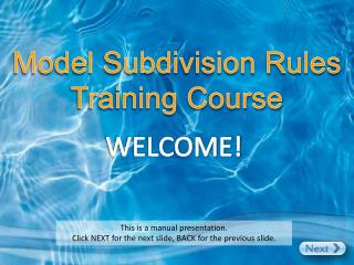 Model Subdivision Rules Training Course