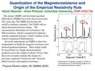 Quantization of the Magnetoresistance and  Origin of the Empirical Resistivity Rule Horst Stormer - Aron Pinczuk, Columb