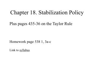 Chapter 18. Stabilization Policy