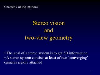 Stereo vision  and  two-view geometry