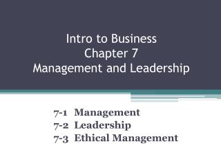 Intro to Business Chapter 7 Management and Leadership