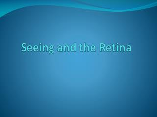 Seeing and the Retina