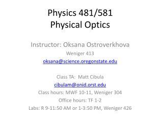 Physics 481