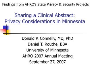Sharing a Clinical Abstract:  Privacy Considerations in Minnesota