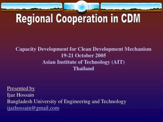 Regional Cooperation in CDM