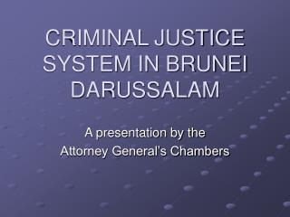 CRIMINAL JUSTICE SYSTEM IN BRUNEI DARUSSALAM