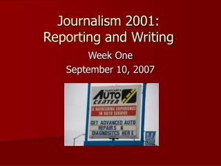 Journalism 2001: Reporting and Writing