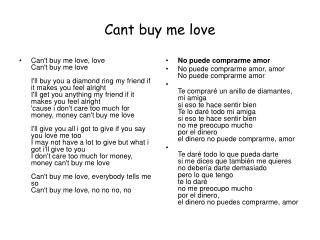 Cant buy me love