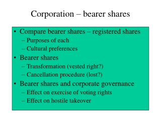 Corporation   bearer shares