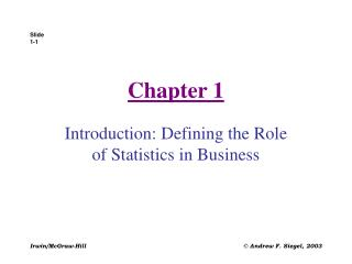 Introduction: Defining the Role of Statistics in Business