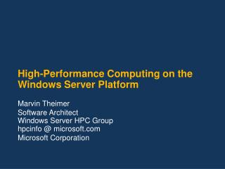 High-Performance Computing on the Windows Server Platform