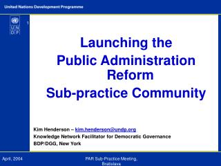 Launching the  Public Administration Reform  Sub-practice Community