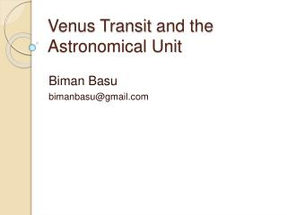 Venus Transit and the Astronomical Unit