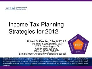 Income Tax Planning Strategies for 2012