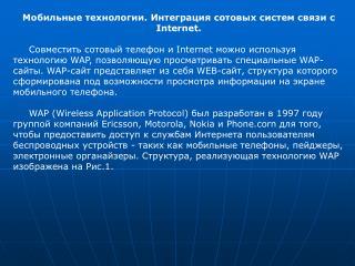 .      Internet.           Internet    WAP,    WAP-. WAP-    WEB-,           .       WAP Wireless Application Protocol