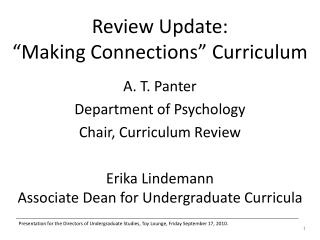 Review Update:  Making Connections  Curriculum