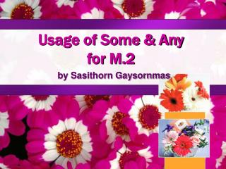 Usage of Some  Any for M.2
