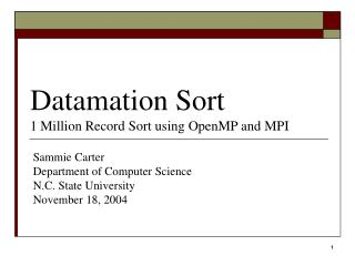 Datamation Sort 1 Million Record Sort using OpenMP and MPI