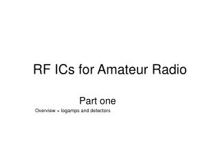 RF ICs for Amateur Radio