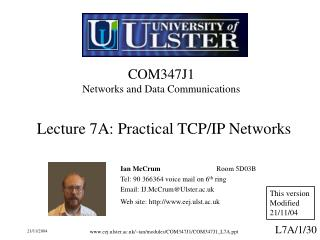 COM347J1 Networks and Data Communications