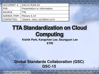 TTA Standardization on Cloud Computing