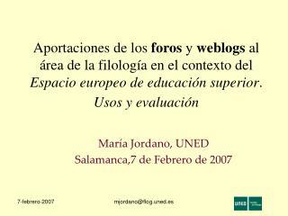 Aportaciones de los foros y weblogs al  rea de la filolog a en el contexto del Espacio europeo de educaci n superior. Us