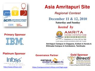 Asia Amritapuri Site  Regional Contest  December 11  12, 2010 Saturday and Sunday