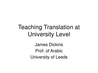 Teaching Translation at University Level
