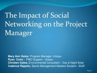 The Impact of Social Networking on the Project Manager