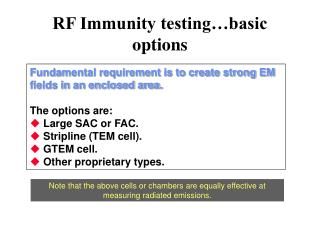 RF Immunity testing basic options